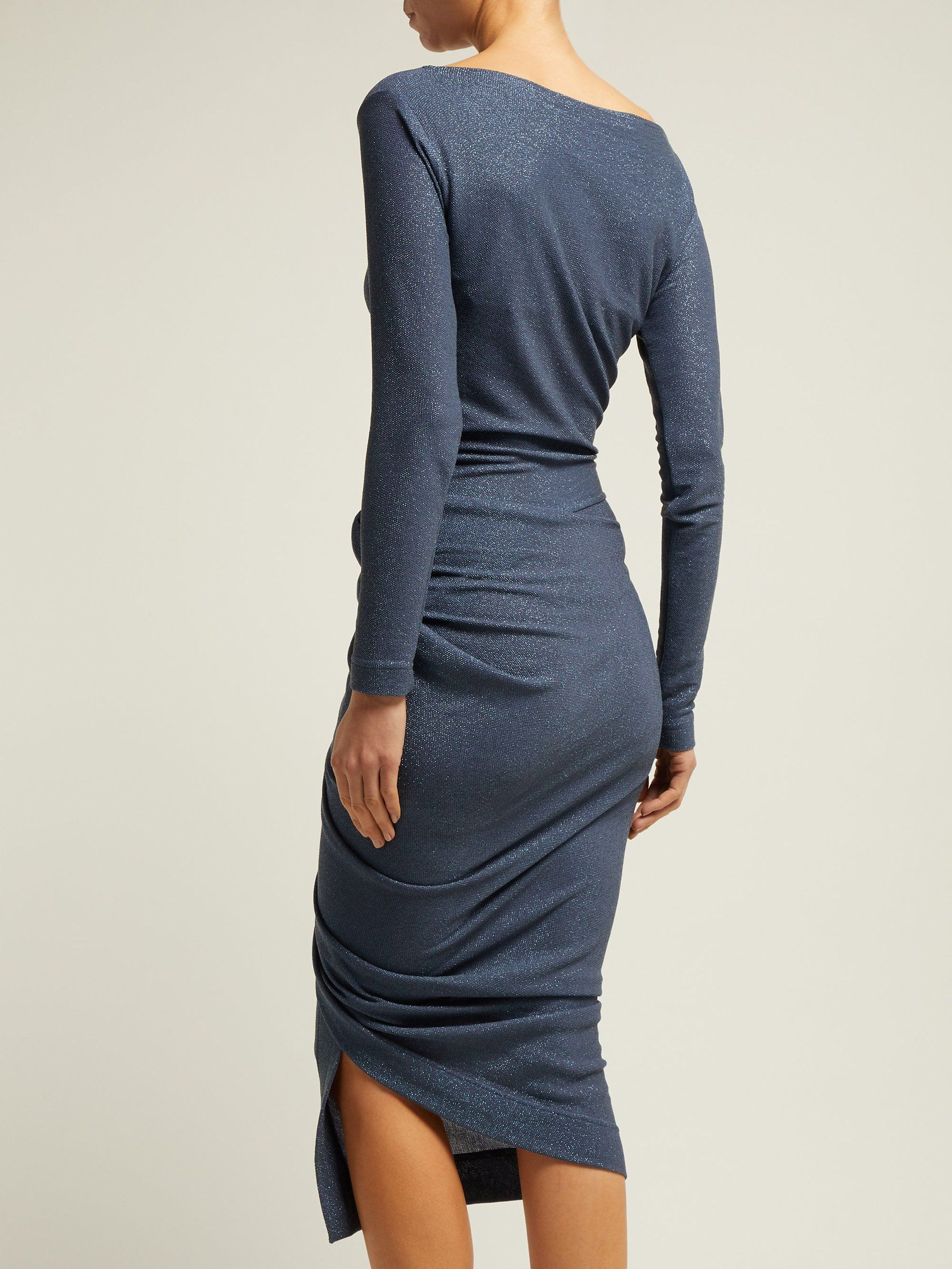 830291f848a Vian draped asymmetric midi dress