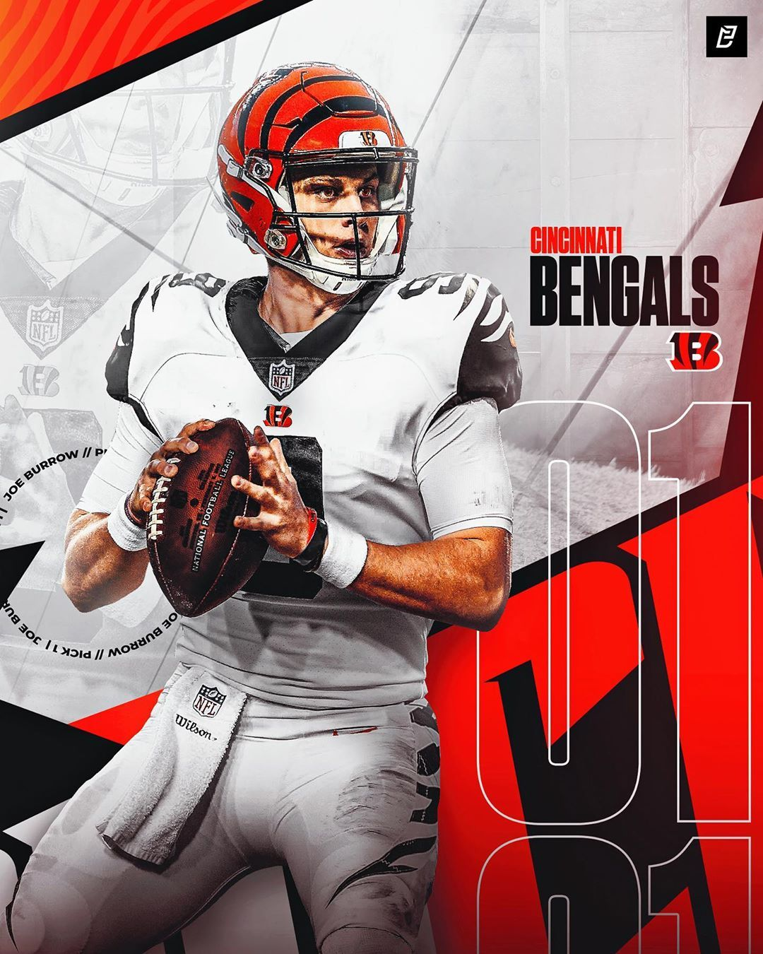 View Joe Burrow Cincinnati Bengals Wallpaper Background