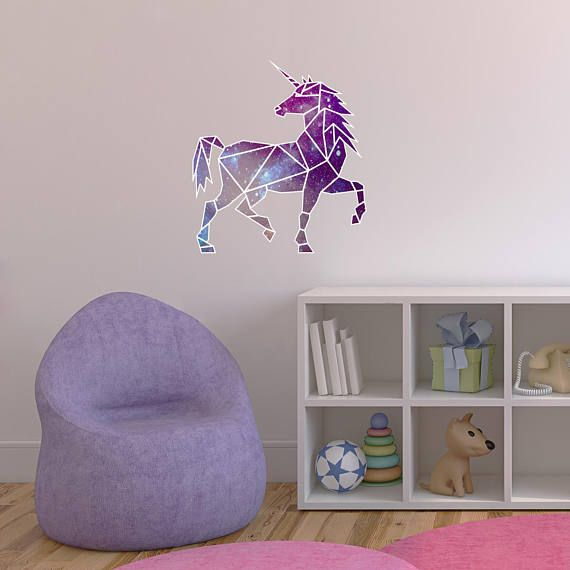 geometric unicorn printed wall decal-unicorn wall decal, unicorn