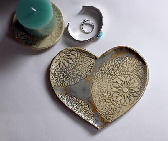Ceramic Ring Dish Holder Heart Shaped Trinket Dish Jewelry & Ceramic Ring Dish Holder Heart Shaped Trinket Dish Jewelry   Boho ...