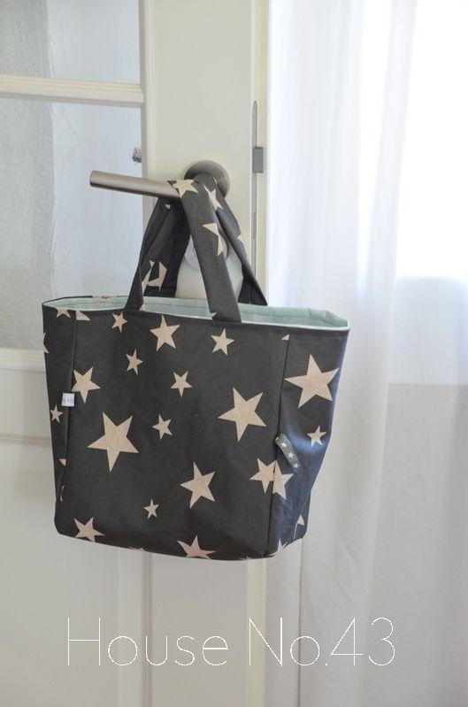 House No.43 Sternen Tasche aus Wachstuch nähen Stars bag with oil ...