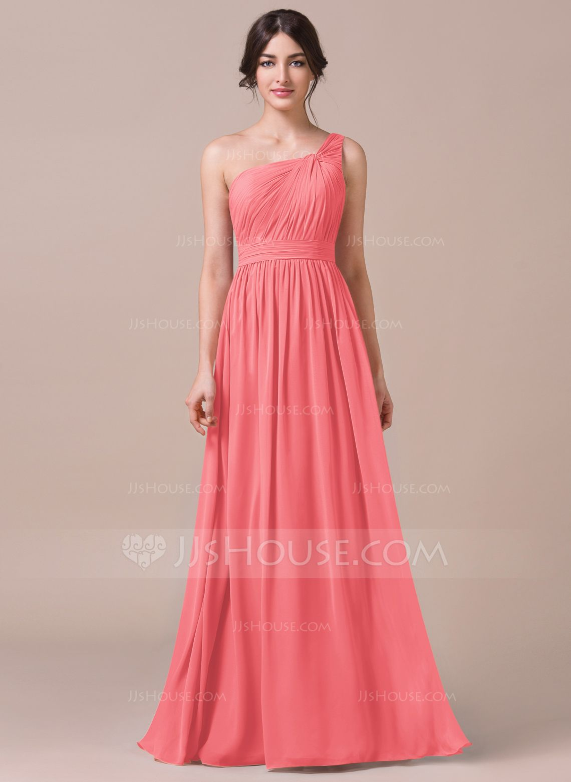 Buy cheap strapless floor length chiffon coral bridesmaid dress - A Line One Shoulder Floor Length Chiffon Bridesmaid Dress 007057740