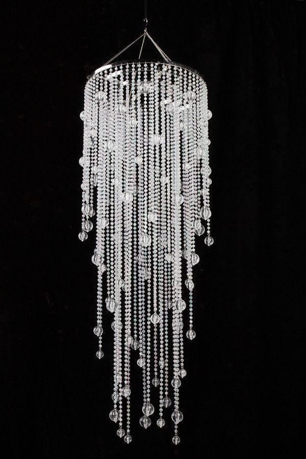 Iridescent Clear Beaded Chandelier With Acrylic Globes Crystal