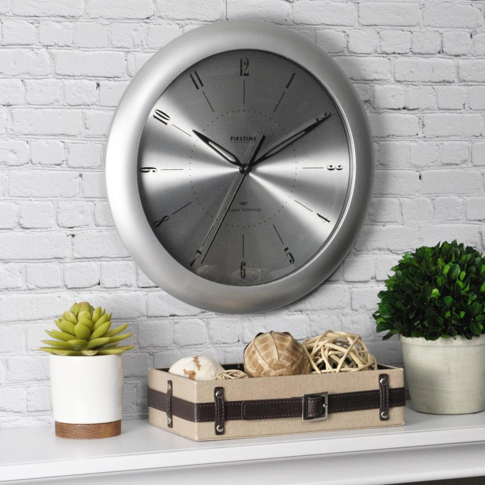 Firstime Co 11 In Round Plasma Steel Wall Clock 00181 Steel Wall Wall Clock Wood Wall Clock
