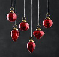 Mini Vintage Hand-Blown Glass Ornament Set of 6 - Red