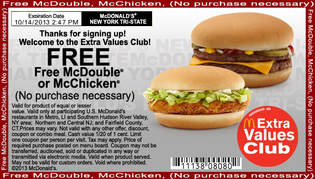 Free Fast Food Coupons No Purchase Necessary