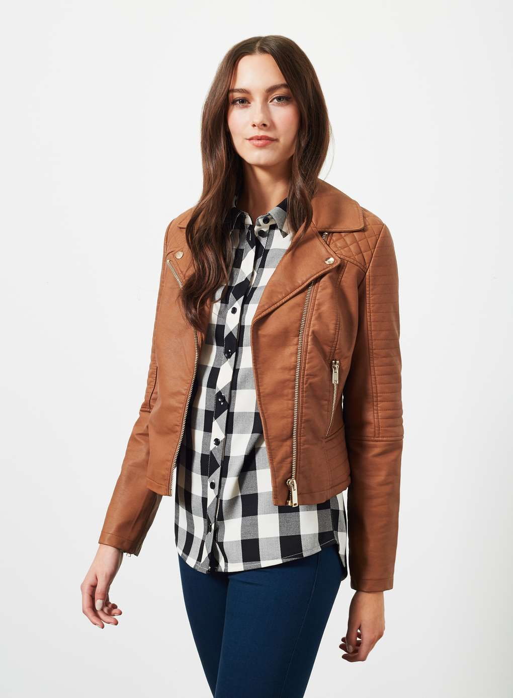 Tan Faux Leather Ruby Biker Jacket | jacket | Pinterest | Bikers ...