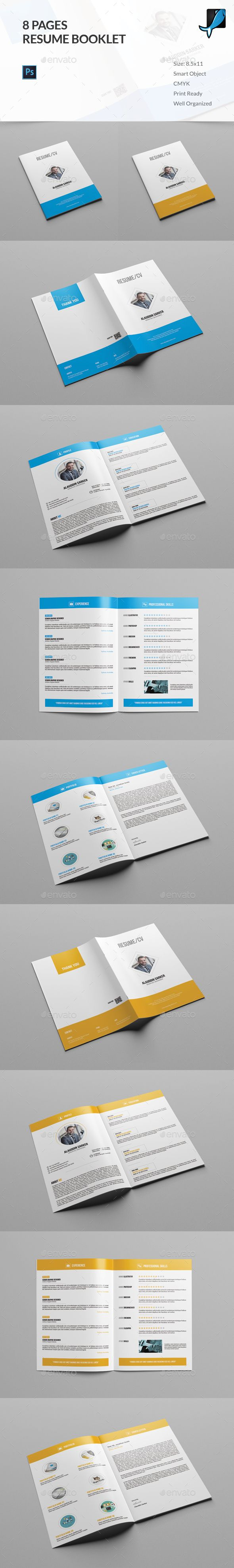 Resume Booklet (8 Pages) | Booklet template, Template and Brochures
