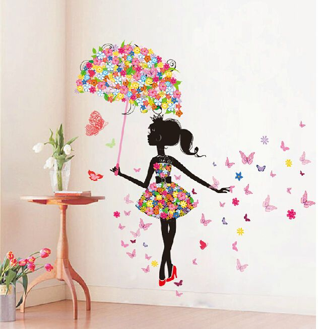 Butterfly girl removable wall art sticker vinyl decal diy for Butterfly mural wallpaper