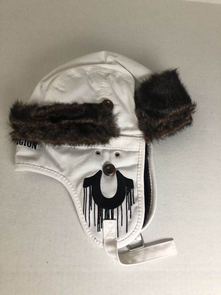f858c56b713 TRUE RELIGION White Twill Faux Fur Bomber TRAPPER Hat Mens Size L-XL (eBay  Link)