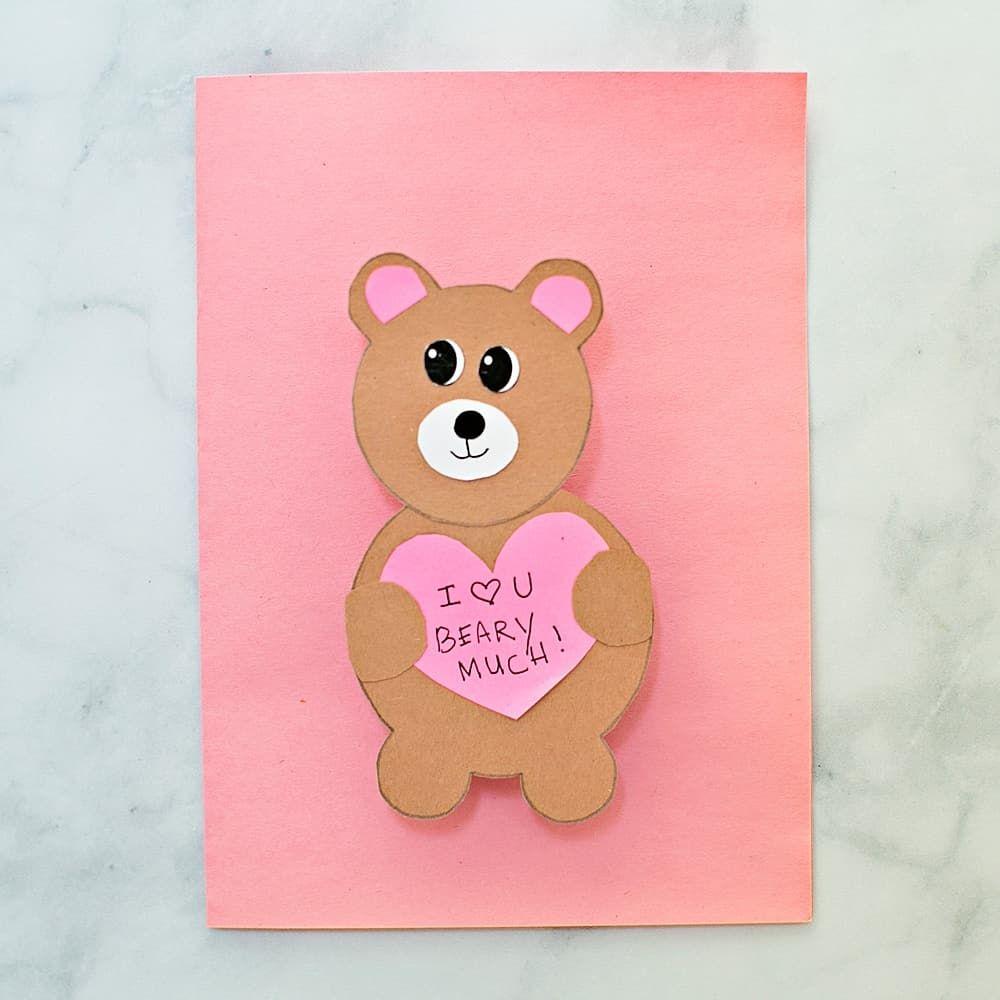 Valentine Bear Card Hello Wonderful Intended For Teddy Bear Pop Up Card Template Free Business In 2020 Pop Up Card Templates Birthday Card Template Free Bear Card