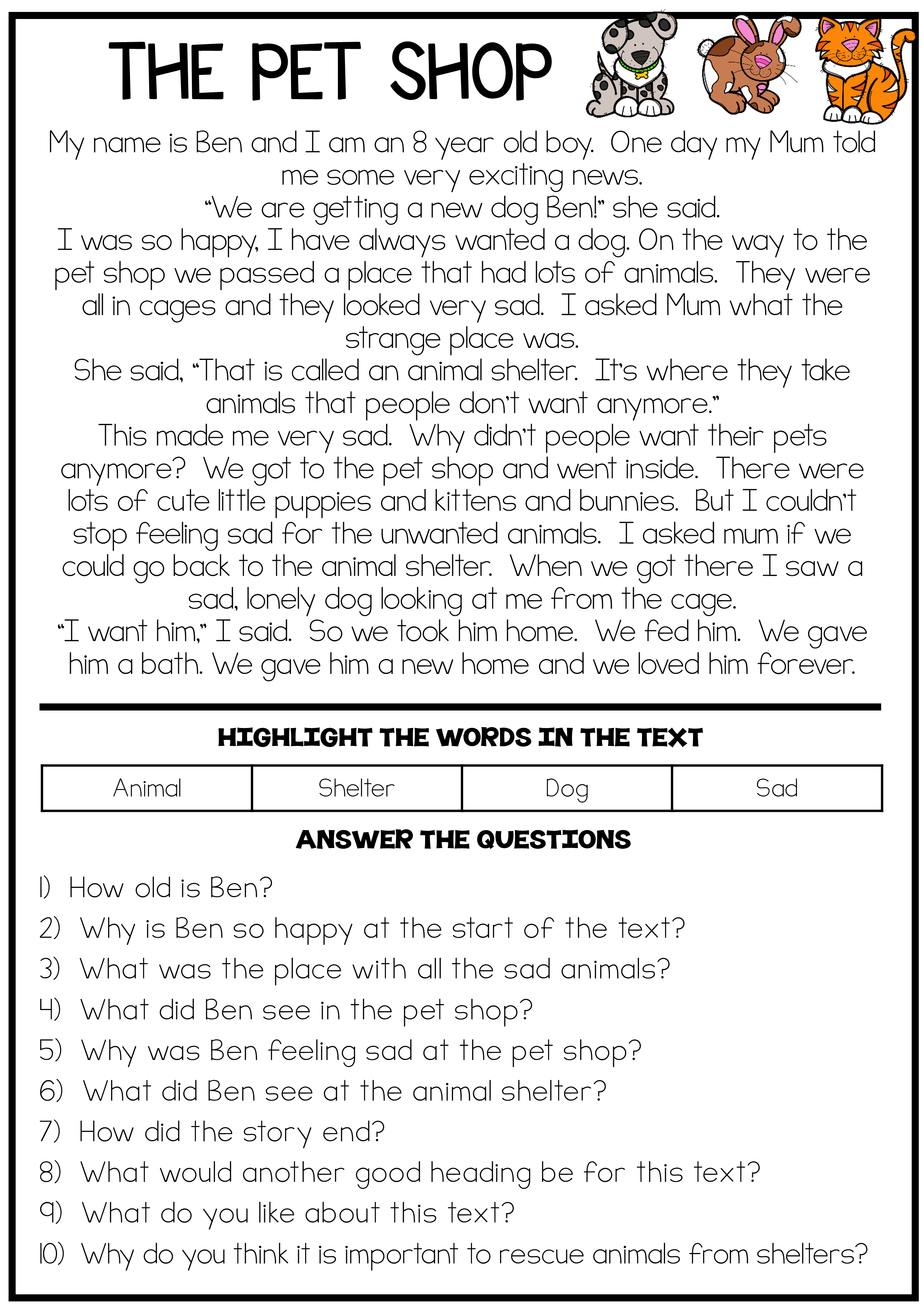 The Pet Shop - Reading Comprehension Passage | Reading ...