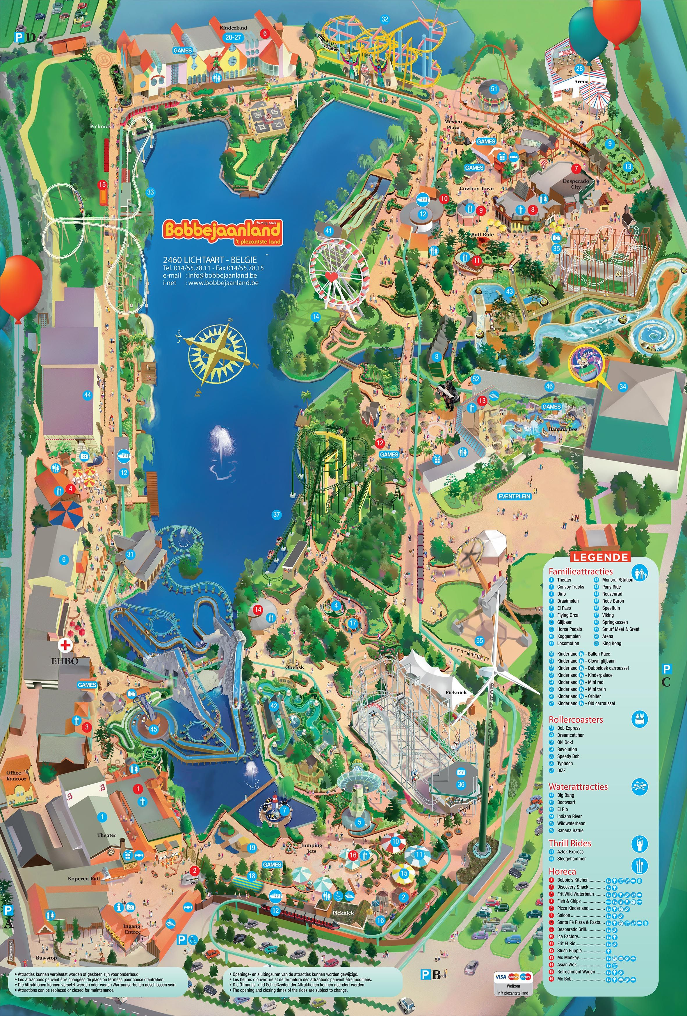 Plattegrond | Bobbejaanland | fun and excitement | Theme ...