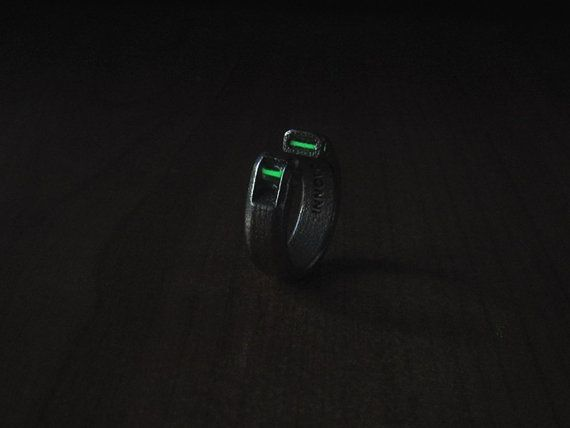 Tritium Duo Ring two greenice blue 2X6mm by InnovoDesign