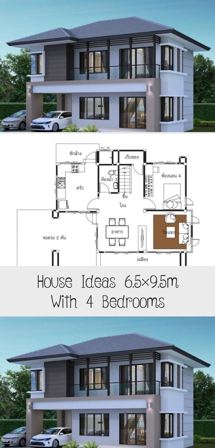 House Ideas 6 5x9 5m With 4 Bedroomshouse Description Ground Level One Bedroom One Car Parking Living Room Dining In 2020 House Modern Bedroom Floor Plan 4 Bedroom