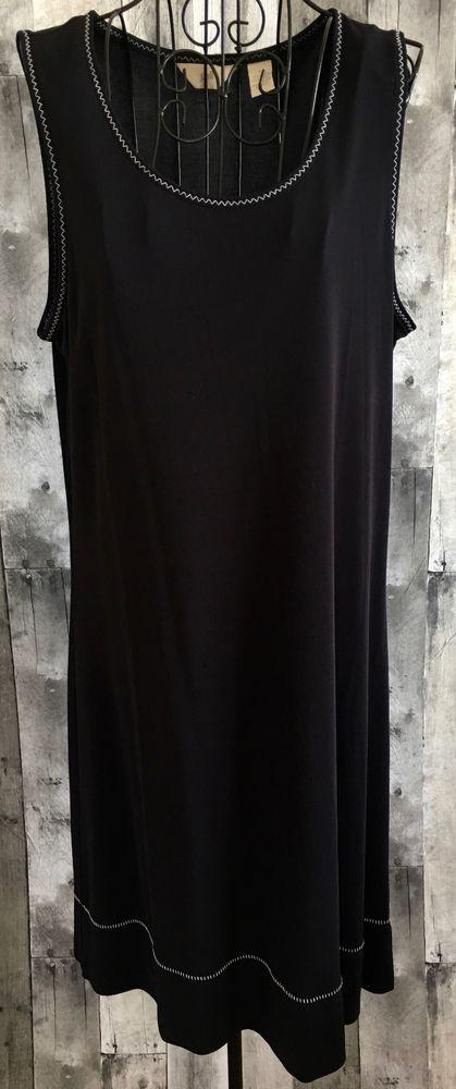 d9f58a30b177 J Jill Dress Blue Black Shift Dress Embroidered Stretch Sleeveless Size  Large  JJill  Shift