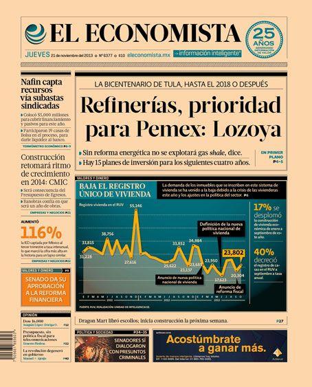 """""""Refinerías, prioridad para Pemex: Lozoya"""". Portada de nuestra edición impresa. Jueves 21 de noviembre de 2013."""