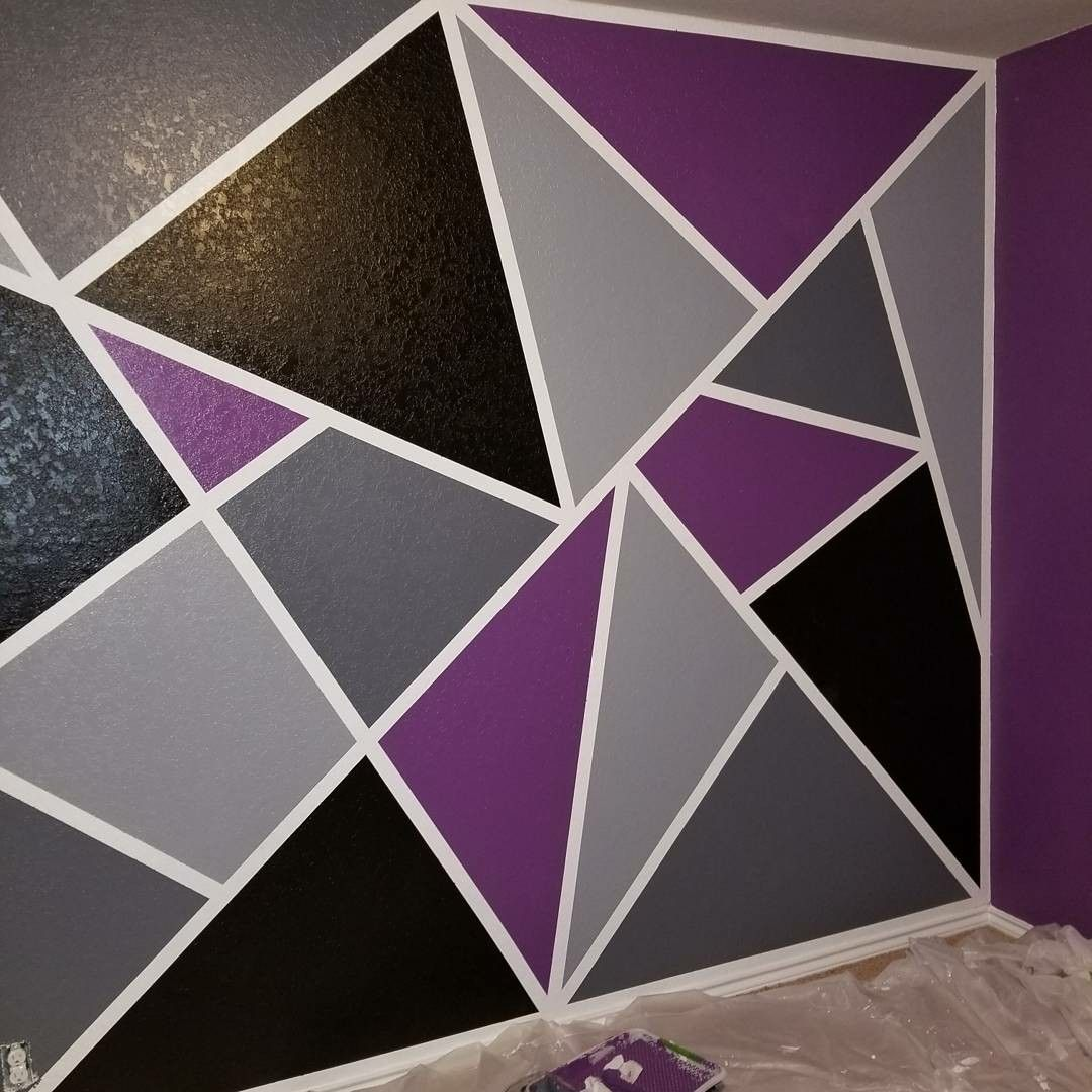 Diy Geometric Accent Wall Painters Tape: Geometric Accent Wall, Came Out Great!