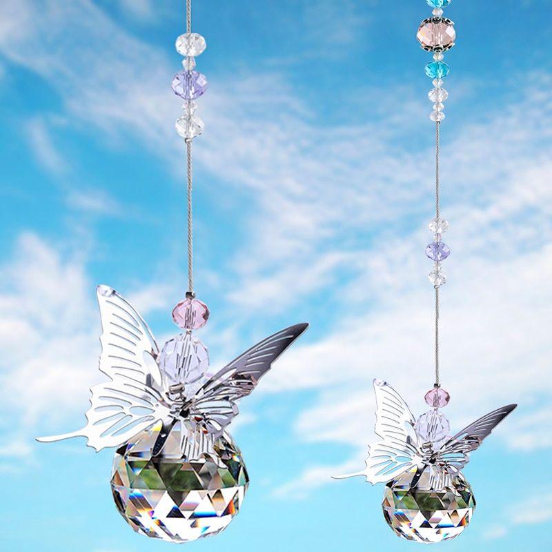 30mm Handmade Butterfly Crystal Ball Prism Rainbow Maker Hanging Suncatcher Home Wedding Decoration Crystal Suncatchers Rainbow Maker Home Wedding Decorations