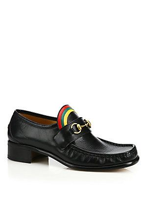 8a4410935f6 Gucci Vegas Rainbow Horsebit Leather Loafers