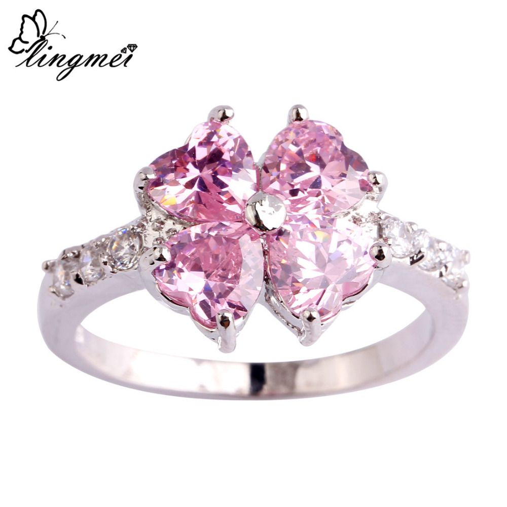 lingmei Wholesale Lucky Hear Cut Pink & White CZ Silver Color Ring ...