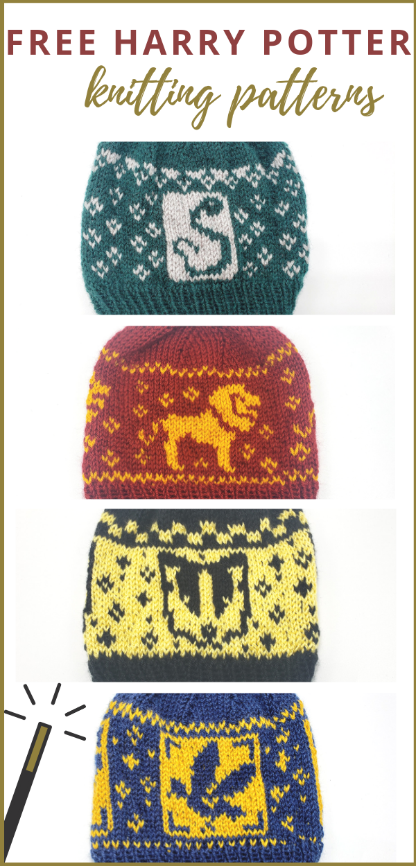 Free Harry Potter Knitting Patterns | Hogwarts Hats #knitting