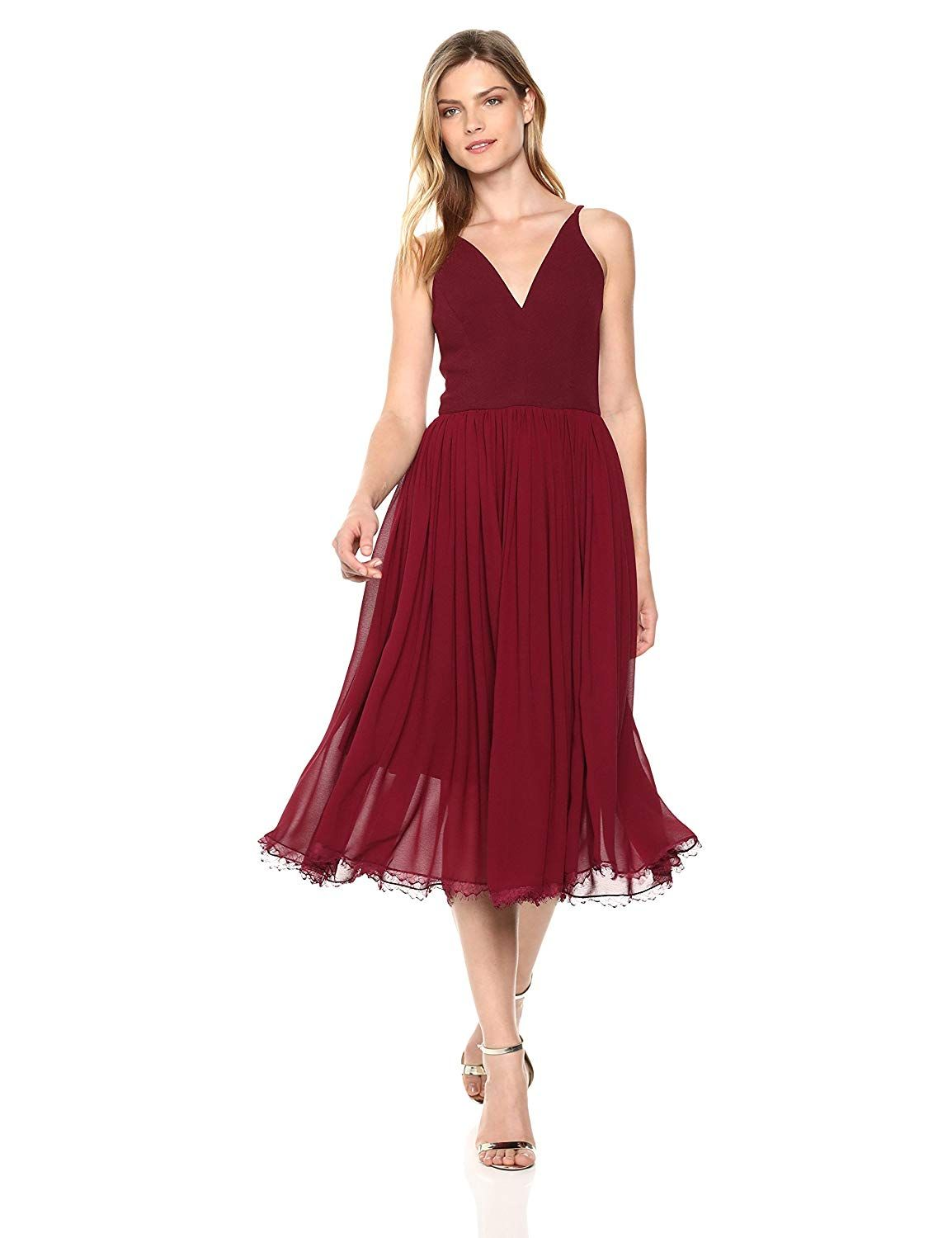 859146a47195 Dress the Population Women's Alicia Plunging Mix Media Sleeveless Fit and  Flare Midi Dress at Amazon Women's Clothing store: