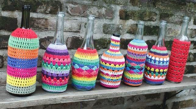 Botellas tejidas | frascos, latas y botellas | Pinterest