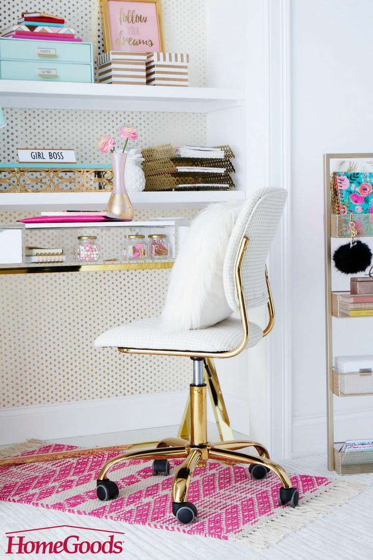 Home office colorful girl Desk With Clever And Colorful Storage Solutions Fun Lighting Exciting Stationary And Inspirational Quotes Your Office Will Be Mix Of Both Work And Play Genpink Whats Your Workspace Style With Clever And Colorful Storage