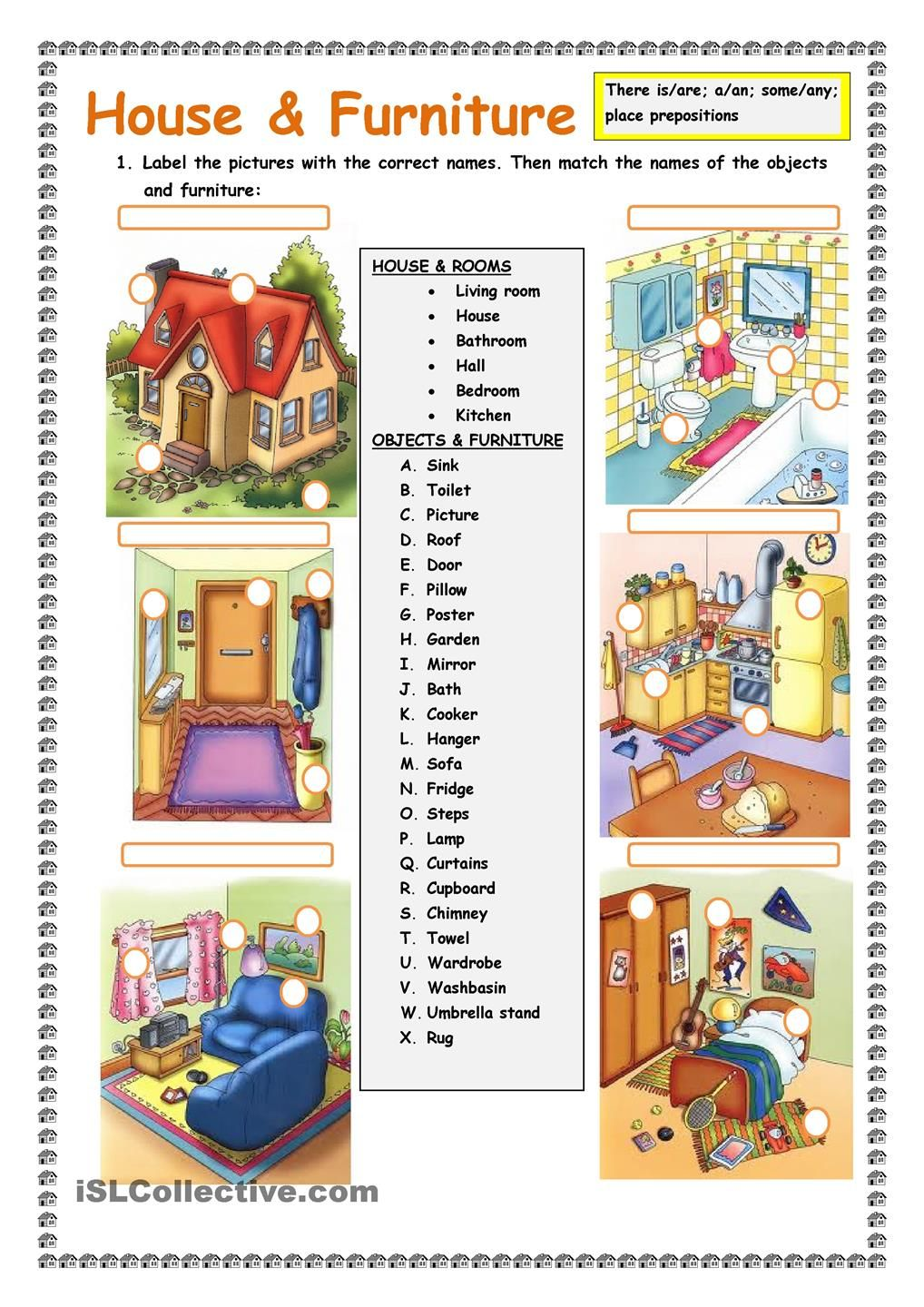 House And Furniture There Is Are Worksheet Free Esl