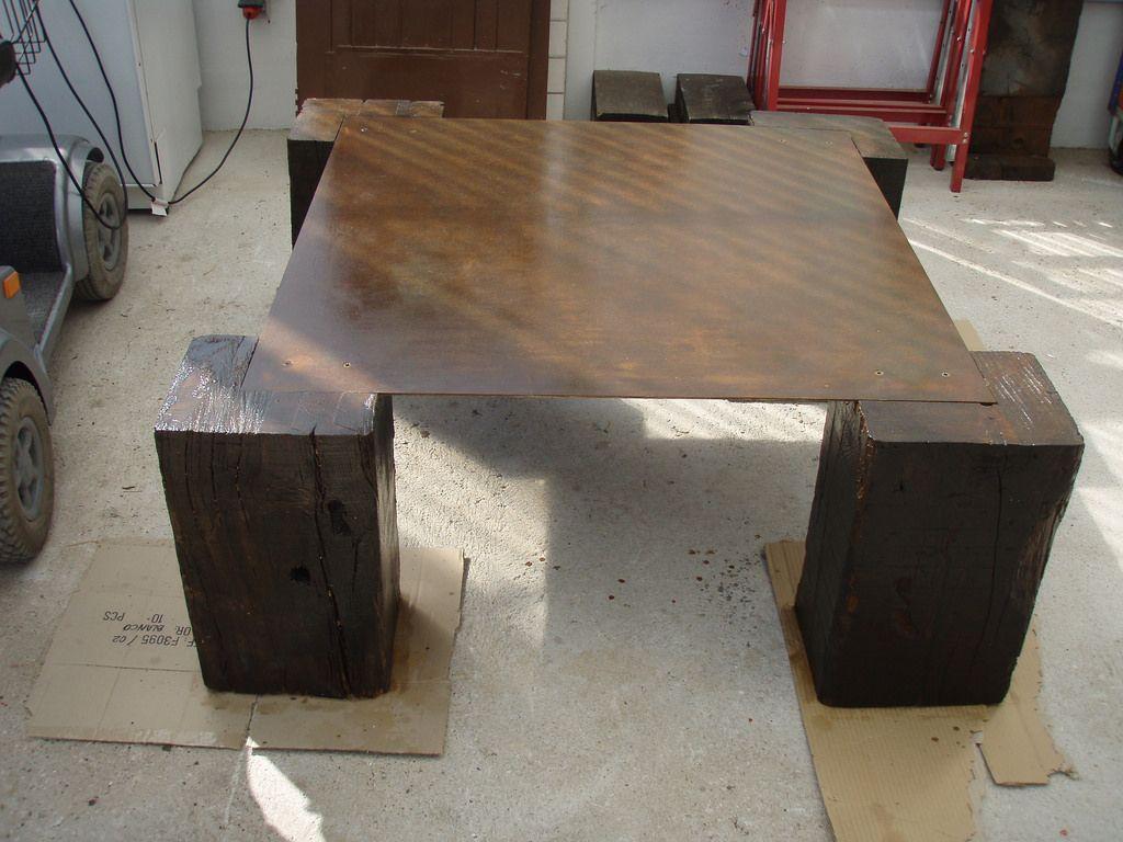 Mesa de cafe confeccionada por noostros con plancha - Vigas de tren ...
