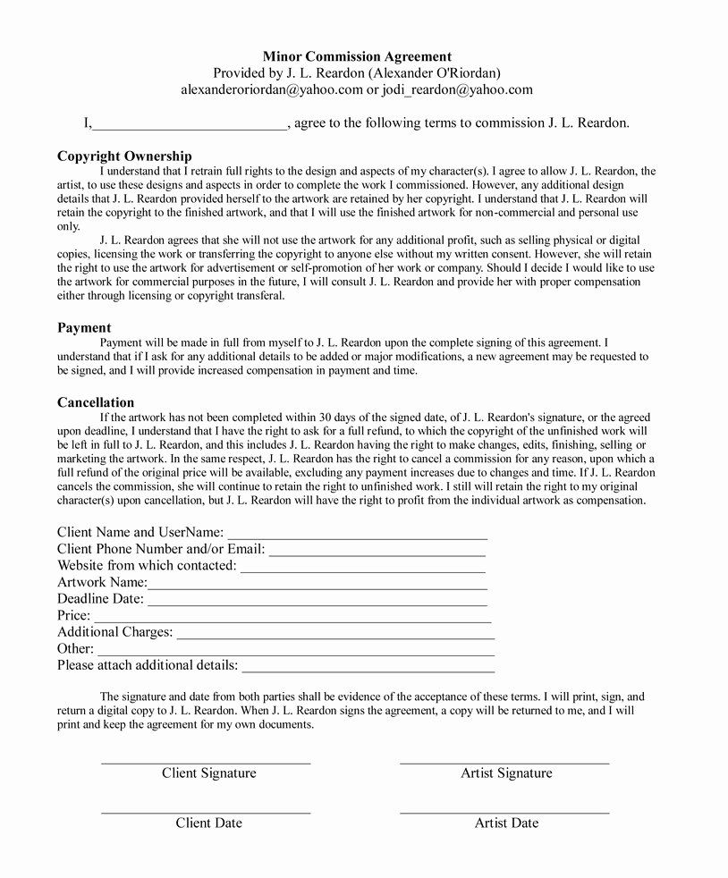 Sales Commission Contract Template Luxury Minor Mission Agreement