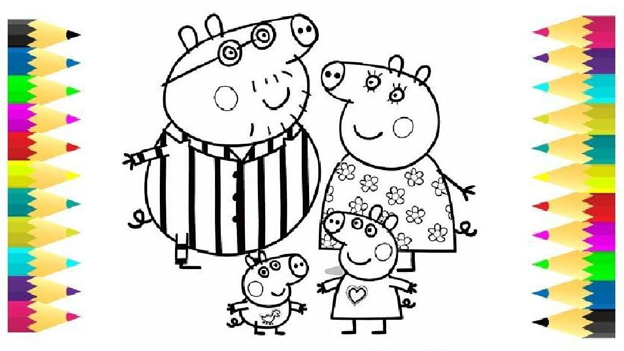 learn coloring for kids and color peppa pig with family coloring page