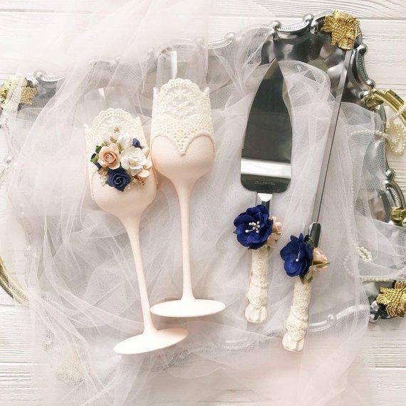 Navy Blue And Blush Wedding Decor Wedding Glasses Bride And Groom