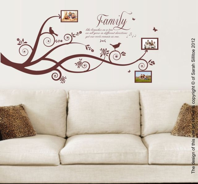 Family Tree Bird Family Quote Vinyl Wall Art Stickers Decal Murals