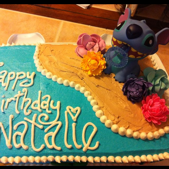 Disney Stitch Birthday Cake For A Hawaiian Themed Party Cupcakery