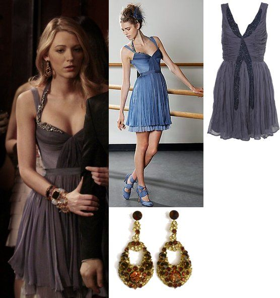 On Serena: J. Mendel Beaded Halter Dress,