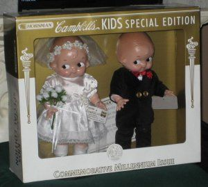Campbell's Kids Bride & Groom Dolls Boy Girl Horsman Special Edition 2001 7217-3 MIB $45
