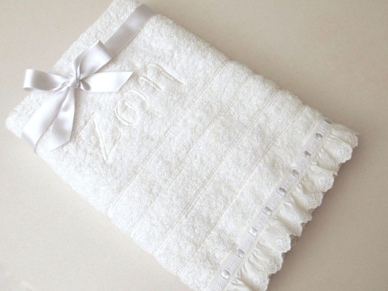 Monogram bathroom towels - 2 Pieces Towel Set Orthodox Baptism Bath Towels Baptism Gift Embroidered Terry Towel Eyelet Lace Satin Ribbon Monogram Baby Towel Greek By Virgocottonlinen