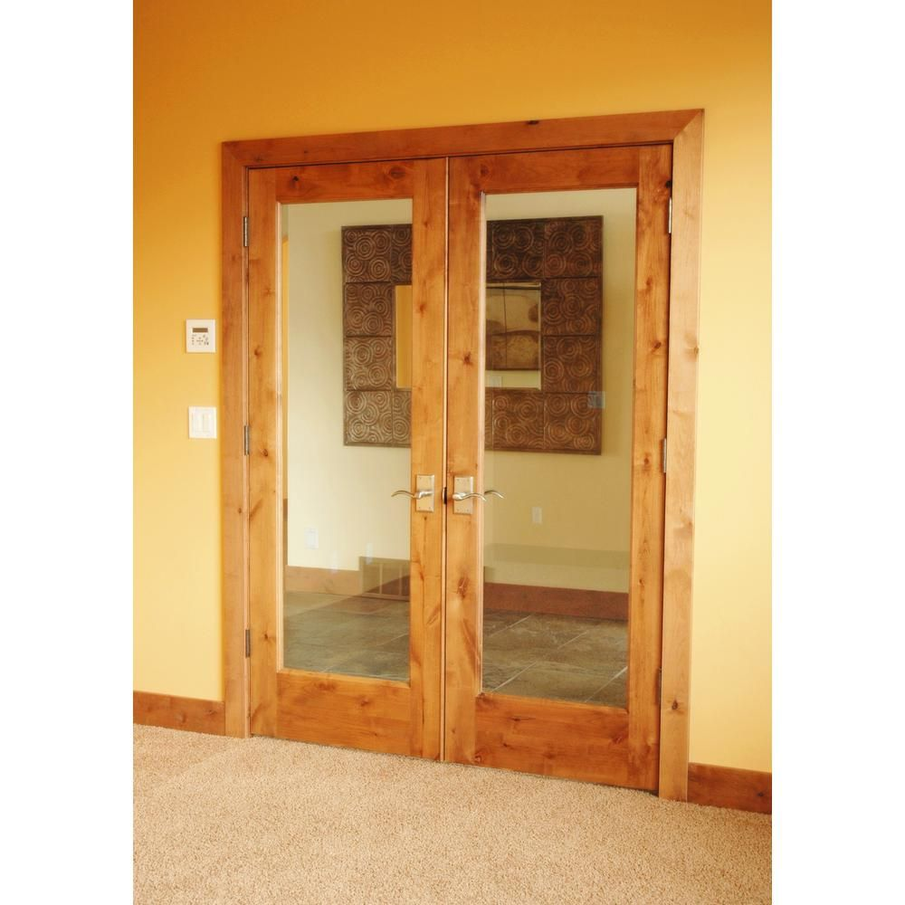 Krosswood Doors 64 In X 80 In Rustic Knotty Alder 1 Lite Clear Glass Both Active Solid Core Wood Double Prehung Interior Door Phid Ka 402 54 68 138 Aa Asador
