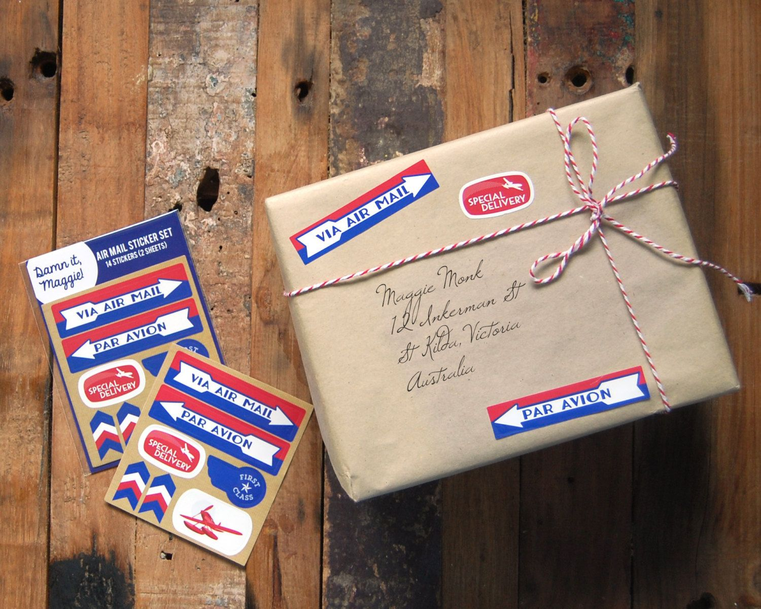 Airmail sticker set vintage reproduction air mail