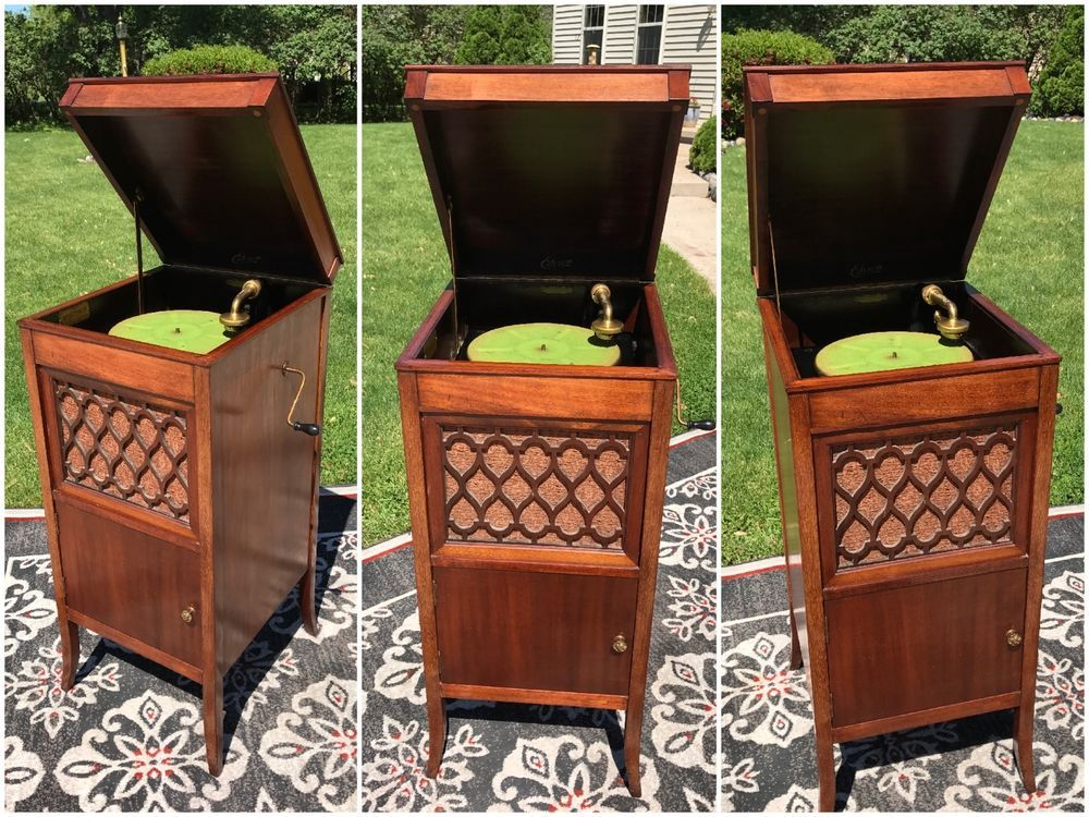 Edison Diamond Disc Phonograph H 19 Complete Works Great Record Storage Cabinet