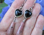 Black Onyx Heart and Pink Rhodolite Silver Earrings