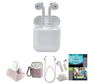 Apple Airpods 2nd Generation w/Wired Case Accs& Voucher in