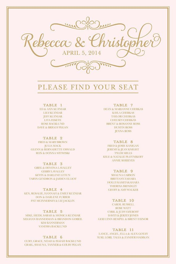 Wedding Seating Chart  Printable Please Find Your Seat
