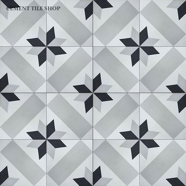 Cement tile shop handmade cement tile star mosaicos for Cera de hormigon para azulejos de bano
