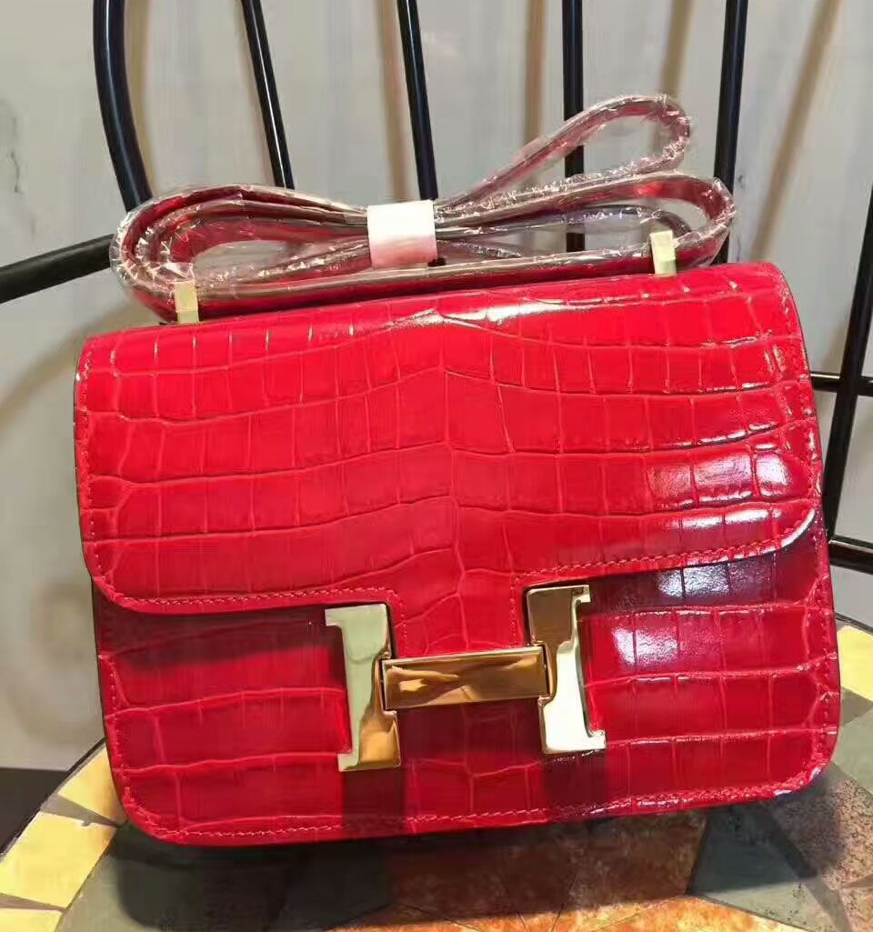 7ce268cce6ef Hermes Constance Bag 23cm Crocodile Leather Gold Hardware In Red ...