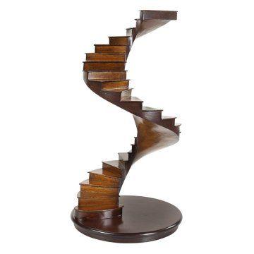 "wood stair - 8"" diam 15"" H"