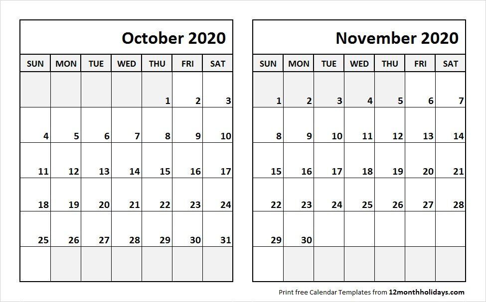 November 2020 Calendar Printable.Oct Nov 2020 Calendar Template 2018 Calendar 2021 Calendar