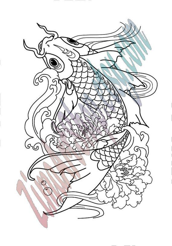 KOI FISHES Adult Coloring Book, Printable Adult Coloring Book Page ...